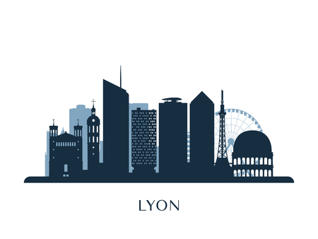 Lyon skyline, monochrome silhouette. Vector illustration.