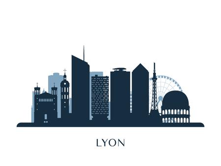 Lyon skyline, monochrome silhouette. Vector illustration.