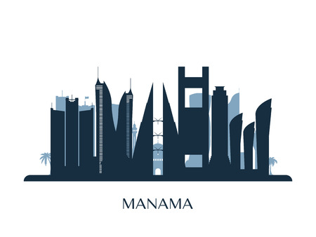 Manama skyline, monochrome silhouette. Vector illustration.