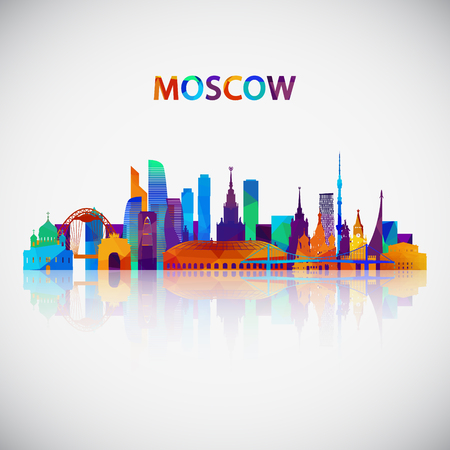 Moscow skyline silhouette in colorful geometric style. Symbol for your design. Vector illustration. Иллюстрация