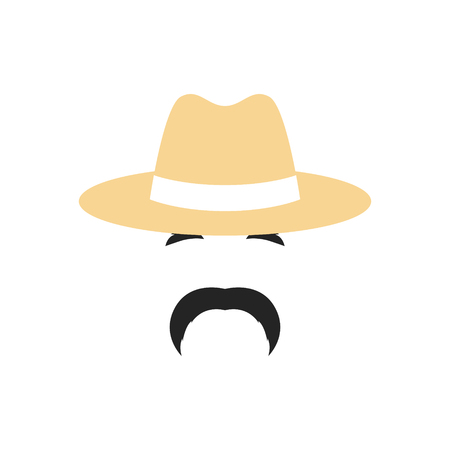 Portrait of a Farmer man in a hat. People profession icon. Illustration