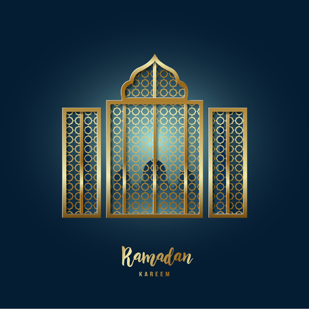 Mosque Window illustration. Greeting card with arabic arabesque pattern and text Ramadan Kareem.