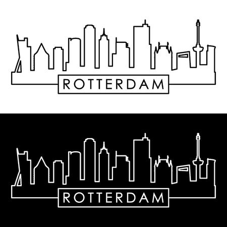 Rotterdam skyline. Linear style. Editable vector file.
