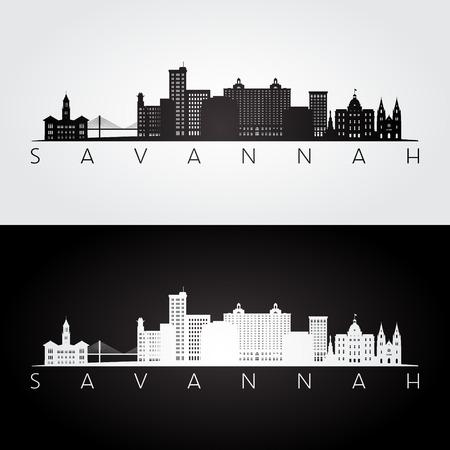 Savannah USA skyline e punti di riferimento silhouette, design in bianco e nero, illustrazione vettoriale.