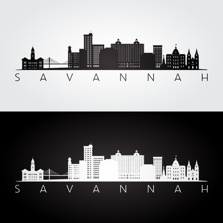 Savannah Usa sylwetka panoramę i zabytki, czarno-biały design, ilustracji wektorowych.