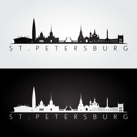 St. Petersburg skyline and landmarks silhouette, black and white design, illustration. Illusztráció