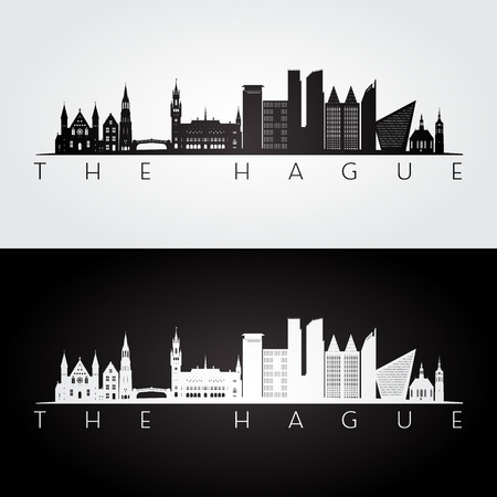 The Hague skyline and landmarks silhouette, black and white design, vector illustration.