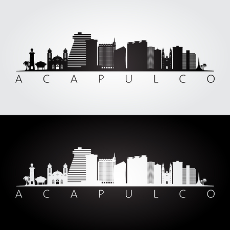 Acapulco skyline and landmarks silhouette, black and white design, vector illustration.