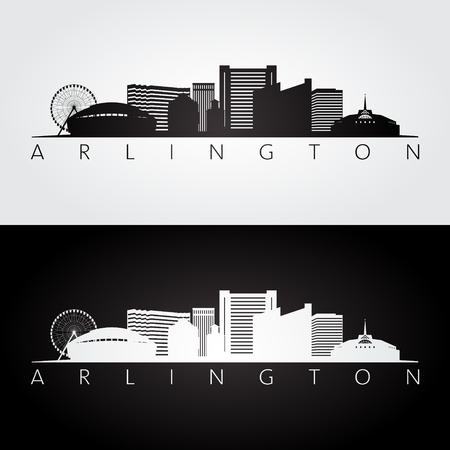 Arlington, Texas -  USA skyline and landmarks silhouette, black and white design, vector illustration. Ilustração