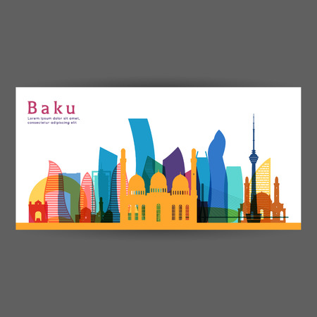 Baku colorful architecture vector illustration, skyline city silhouette, skyscraper, flat design.
