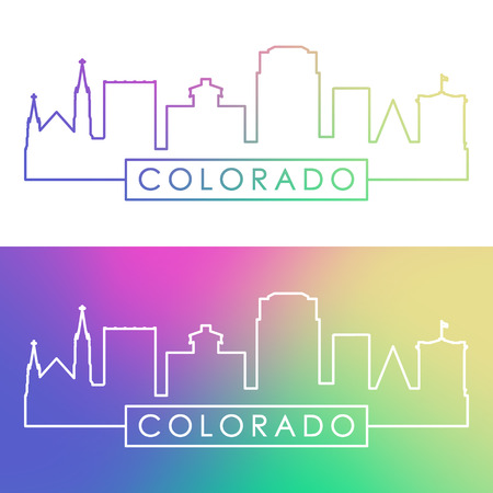 Colorado Springs skyline. Colorful linear style. Editable vector file.