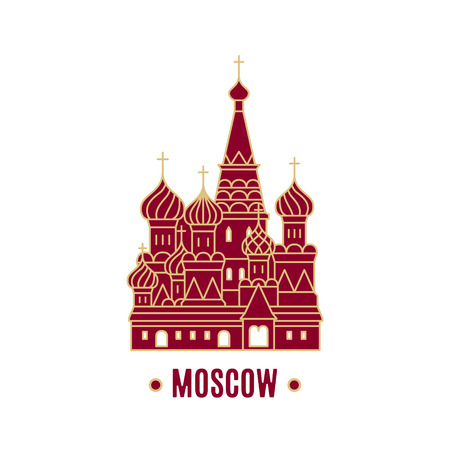 St. Basil's Cathedral vector illustration isolated on white background. Line art. Moscow landmark.