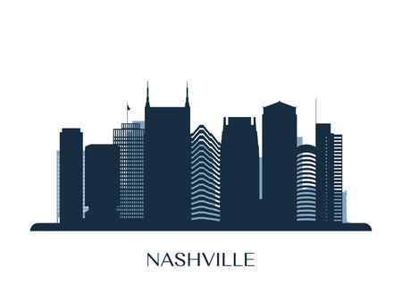 Nashville skyline, monochrome silhouette. Vector illustration.