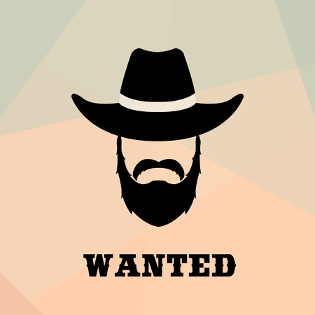 Poster Wanted with Bandit Portrait . People icon. Vector illustration. Illustration