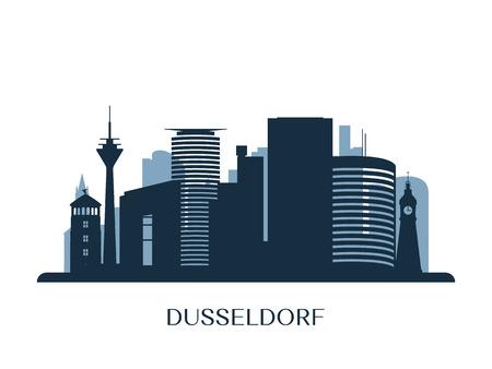 Dusseldorf skyline, monochrome silhouette. Vector illustration.