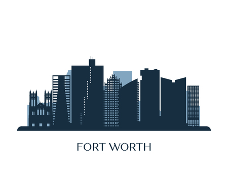 Fort Worth skyline, monochrome silhouette. Vector illustration. Ilustração