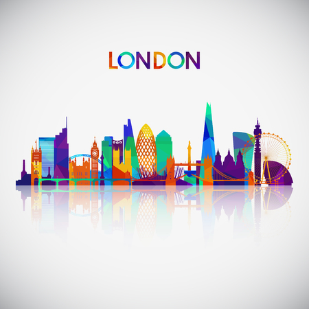 London skyline silhouette in colorful geometric style. Symbol for your design. Vector illustration.