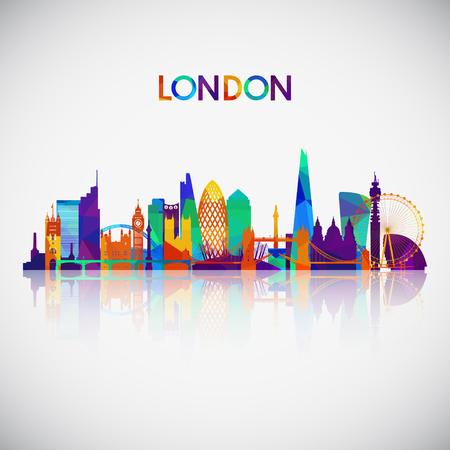 Sylwetka panoramę Londynu w kolorowym stylu geometrycznym. Symbol dla swojego projektu. Ilustracja wektorowa.