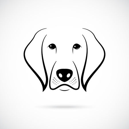 Muzzle of Dog on white background. Line art. Dog icon for your design.