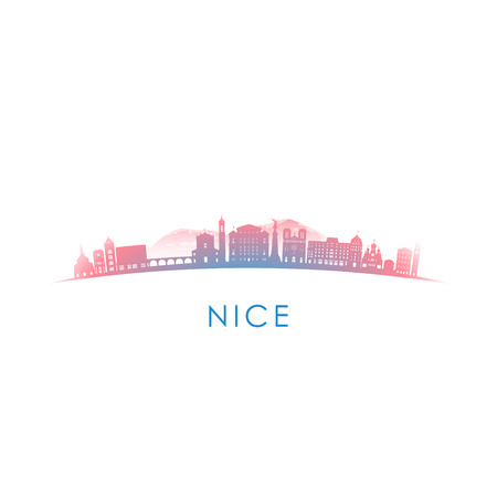 Nice skyline silhouette. Vector design colorful illustration. Illusztráció