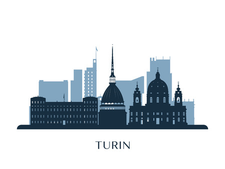 Turin skyline, monochrome silhouette. Vector illustration.