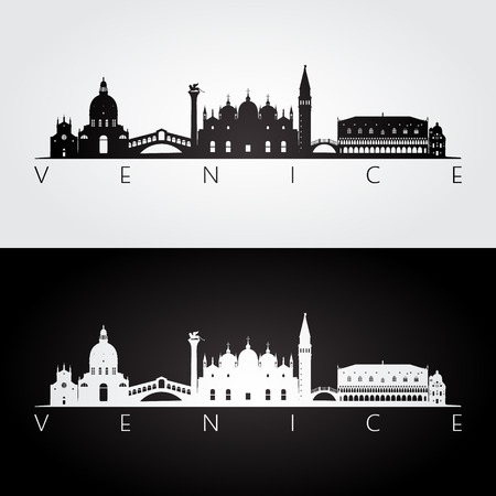 Venice skyline and landmarks silhouette, black and white design, vector illustration.
