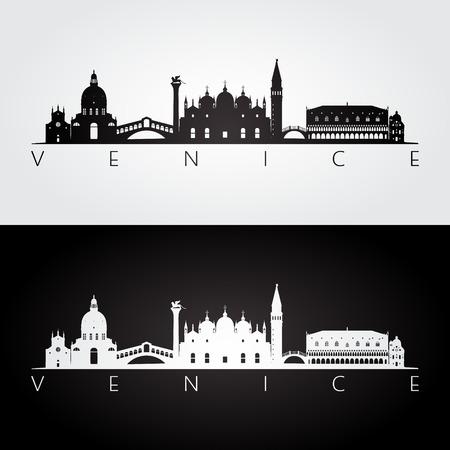 Lo skyline di Venezia e punti di riferimento silhouette, design in bianco e nero, illustrazione vettoriale.