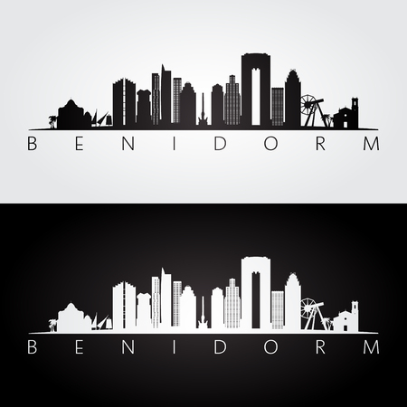 Benidorm skyline and landmarks silhouette, black and white design, vector illustration.