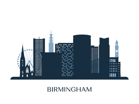 Birmingham skyline, monochrome silhouette. Vector illustration.