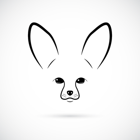 Muzzle of cute Fennec on white background. Line art. Minimalist icon for your design.