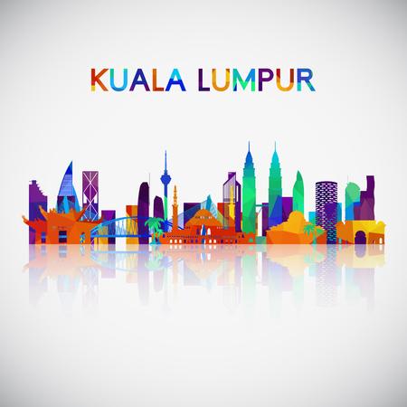 Silueta de horizonte de Kuala Lumpur en estilo geométrico colorido. Símbolo para su diseño. Ilustración vectorial. Ilustración de vector