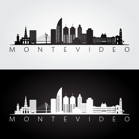 Montevideo skyline and landmarks silhouette, black and white design, vector illustration. Illustration