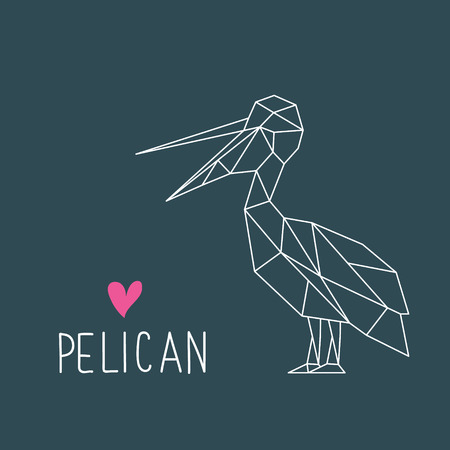 Funny Pelican illustration in geometric style with lettering. Minimal summer print. Vector illustration.