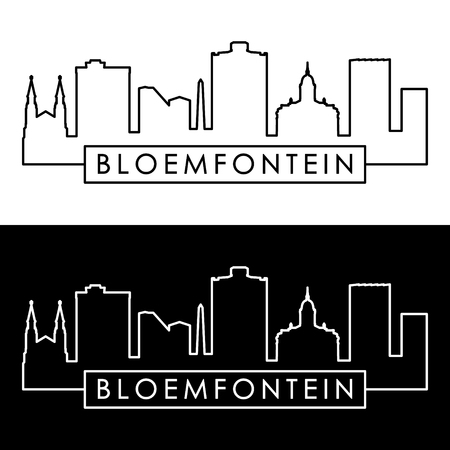 Bloemfontein skyline. Linear style. Editable vector file.