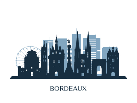 Bordeaux skyline, monochrome silhouette. Vector illustration.