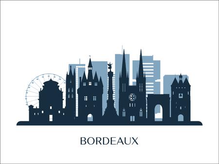 Skyline di Bordeaux, silhouette monocromatica. Illustrazione vettoriale.