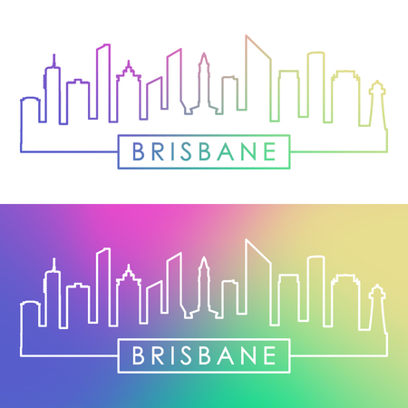 Brisbane skyline. Colorful linear style. Editable vector file.