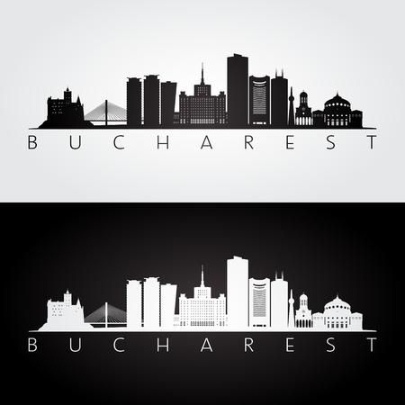 Bucharest skyline and landmarks silhouette, black and white design, vector illustration.