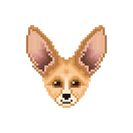 Portrait of  cute Fennec Fox. Pixel art animal icon. Vector illustration. Illusztráció