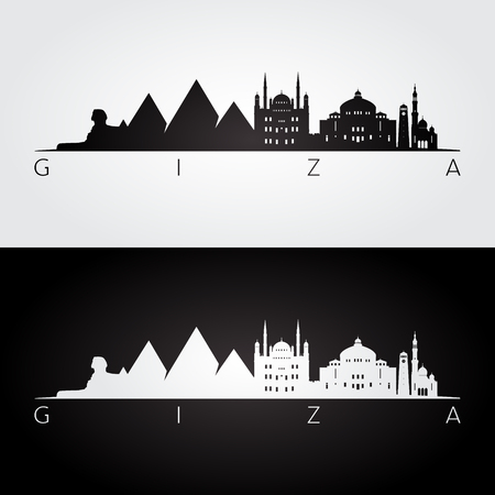 Giza skyline and landmarks silhouette, black and white design, vector illustration.