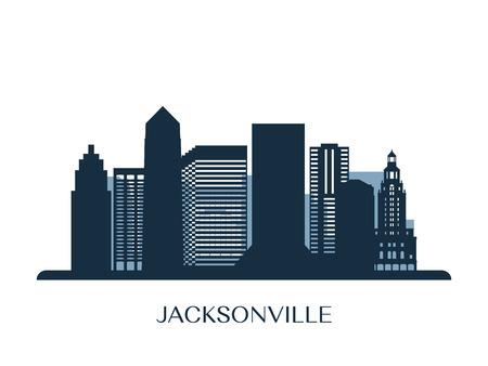 Jacksonville skyline, monochrome silhouette. Vector illustration. Illustration