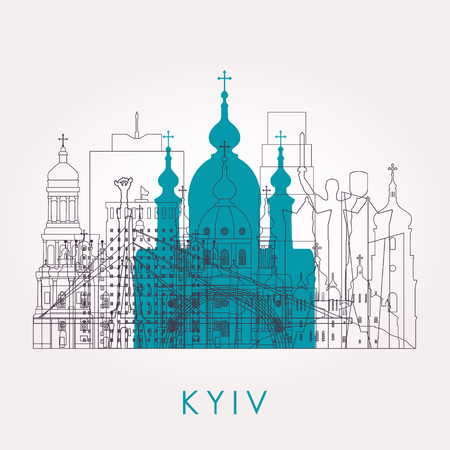 Outline Kyiv skyline with landmarks. Vector illustration. Business travel and tourism concept with historic buildings. Image for presentation, banner, placard and web site. Иллюстрация