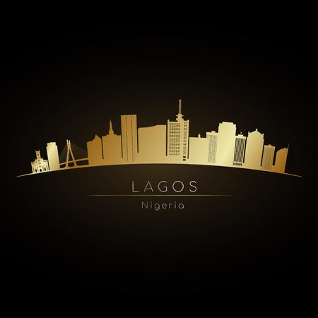 Golden logo Lagos skyline. Vector silhouette illustration
