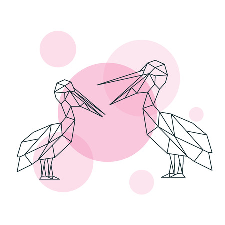 Illustration of Couple cute Pelicans in geometric style.. Minimal summer print. Vector print.  イラスト・ベクター素材