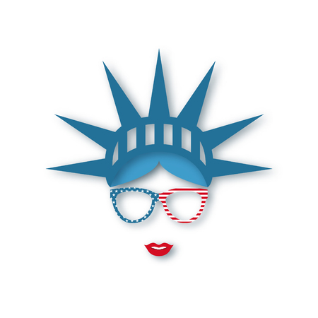 4th July Independence Day. Girl in symbolic hat Statue of liberty. Paper art. Vector illustration.