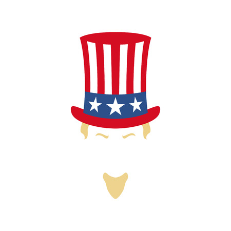 Modern portrait of Uncle Sam. American flag. National holiday in United States of America Independence Day. Vector illustration.