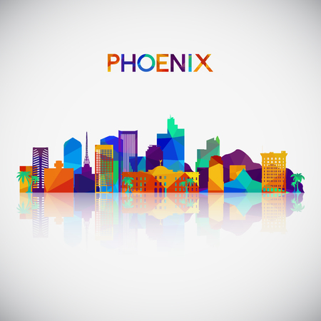 Phoenix skyline silhouette in colorful geometric style. Symbol for your design. Vector illustration. 向量圖像