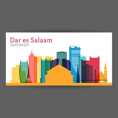 Dar es Salaam colorful architecture vector illustration, skyline city silhouette, skyscraper, flat design.
