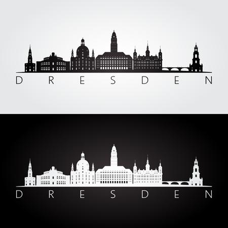 Dresden skyline and landmarks silhouette, black and white design, vector illustration. Çizim