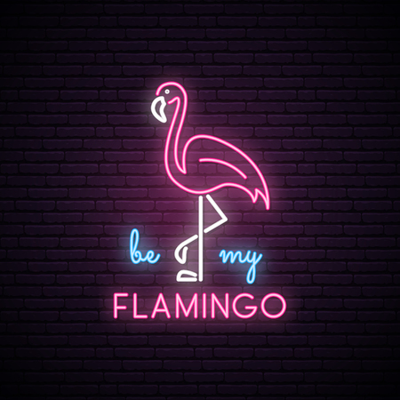 Silhouette of neon pink flamingo with the inscription: be my Flamingo. Neon bright sign. Vector illustration.